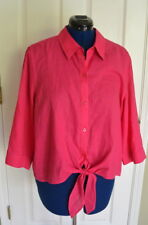 Chico's Shirt 3 XL Top Effortless Linen Lydia 3/4 Sleeves Non Iron Pink Chico