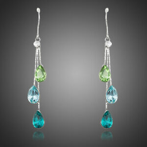 Silver Green Blue Earrings Drop Dangle Made with Swarovski Crystals Earrings