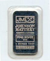 Johnson Matthey Assayers 1 Troy OZ .999 Fine silver Bar SN:613482 (Sealed)
