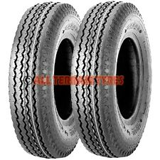 TWO 4 Ply 4.80/4.00-8 Trailer Tyres High Speed or Wheelbarrow 400-8 4.00-8 400x8