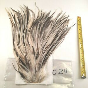 White Blue Dun Splash Rooster Saddle Hackle Long Thin Dry Fly Tying Feathers 024
