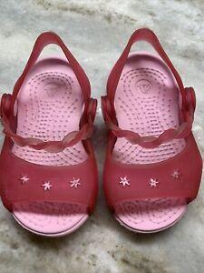 Pink crocs braided strap toddler girl size 4