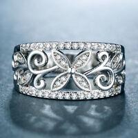 Elegant Leaf 925 Silver Jewelry Women's Wedding Rings White Sapphire Size6-10