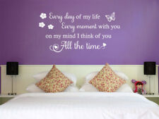 'I think of you all the time' Lovely Wall Art Quote, Decal, Modern Transfer