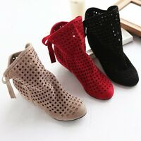 Ladies Faux Suede Casual Ankle Boots Women Bow-Knot Hollow Out Hidden Heel Shoes