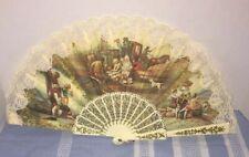 Spanish cloth hand fan Francisco De Goya El Cacharrero La Vendimia Fan Vintage