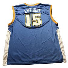 Men's Reebok CARMELO ANTHONY #15 Denver Nuggets NBA Basketball Jersey Sz XXL 2XL