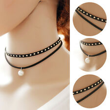 Gothic Women Black Multilayer Leather Choker Collar Chain Pearl Pendant Necklace
