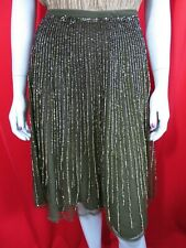 French Connection khaki & gold sequin evening skirt party UK 10