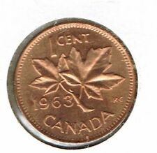 1963 Canadian Uncirculated One Cent Elizabeth II Coin!