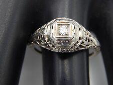 ART DECO .04 ct Filigree European Cut Diamond Engagement Ring 18k WG E/VVS2