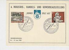 Berlin 1957 Schwenningen Slogan Cancel Trade & Industry Stamps Card Ref 26099