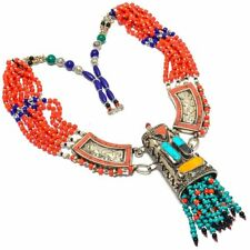 """Tibetan Turquoise, Coral Gemstone 925 Sterling Silver Jewelry Necklace 18"""""""
