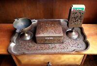 Vtg Asian Brass Cigarette Set Tray Cigarette box Pedestal Match Holder & Ashtray