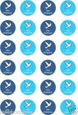 24x PRECUT PERSONALISED BOYS COMMUNION/CONFIRMATION RICE PAPER CUP CAKE TOPPERS