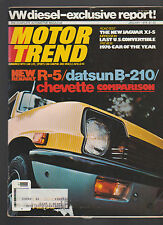 Motor Trend Magazine January 1976 Datsun B-210 Chevette Renault R-5 Jaguar