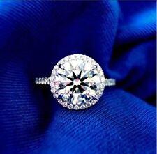 Round Moissanite 3Ct White Brilliant Halo Wedding Engagement Ring 14k White Gold