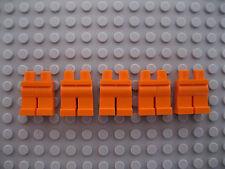 Five Bright Orange Lego Mini Lower Body Parts/ Legs/ Trousers Brand New