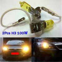 2x H3 Headlight High Low Beam Bulb Halogen HID 100W 1500LM Yellow Light