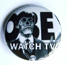 """They Live Watch TV Roddy Piper Media Bias Pinback Button - 1.5"""" - Free Shipping"""