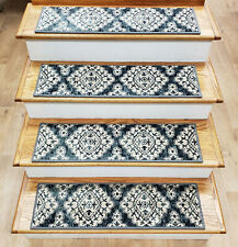 """Rug Depot 13 Transitional Non Slip Carpet Stair Treads 26"""" x 9"""" Blue Stair Rugs"""