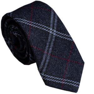 Italian Designer MILANO EXCLUSIVE Navy Blue Plaid Check Wool Tie