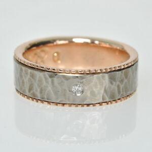 Designer TAVIA Brown 14k Rose Gold & Hammered Titanium Diamond Band Ring 71/2
