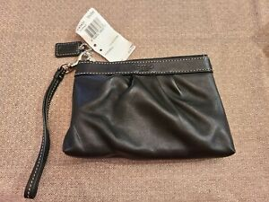 NWT Coach Black Leather Wristlet