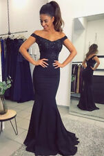 Navy Blue Mermaid Lace Long Formal Evening Party Dress Off Shoulder Prom Gowns