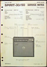 Roland Spirit-30 Spirit-50 Guitar Amp Original Service Manual Schematics, 1981