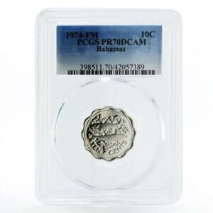 Bahamas 10 cents Two Fish PR70 PCGS proof CuNi coin 1974