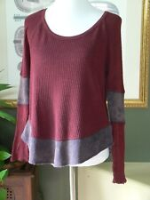 Free People WE THE FREE Burgundy/Gray Distressed Henley Top XS