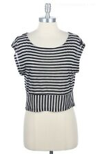 All Over Striped Cap Sleeve Round Neck Cropped Top Casual Easy Wera Comfy S M L