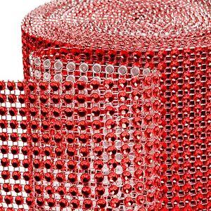 "4.5"" x 1yd Diamond Mesh Rhinestone Crystal Bling Ribbon Wrap Table Decoration"