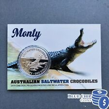 2016 $1 UNC MONTY SALTWATER CROCODILES 1oz SILVER FROSTED COIN