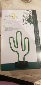 LED Kaktus Neonlicht Zeichen Kaktus Lampe mit Sockel schwarz Leuchtreklamen LED