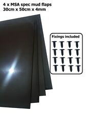 BLACK Rally Motorsport Mud Flaps 50cm x 30cm 4mm MSA spec x4 - With Fittings