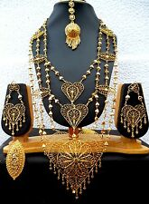 22K Gold Plated Net Like Heart Indian Wedding Necklace Earrings Tikka Ring