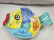 VIETRI DECORATIVE FISH BEACH DECOR PLATE HANDMADE ITALY WALL HANG VF2