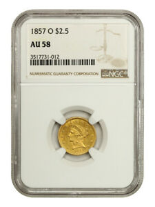 1857-O $2 1/2 NGC AU58 - An Underrated Quarter Eagle - 2.50 Liberty Gold Coin