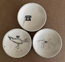 STUDIO POTTERY Set Of 3 Glazed Ceramic Bowls Illustrated Signed NEW