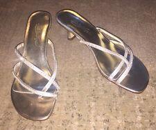 Davids Bridal MICHAELANGELO Marly Gold & Rhinestone Sandals Heels, Size 8 M, NEW