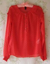 ! Raro! de Colección Segunda Guerra Mundial 40s ~ 50s ~ 60s Lunares Volantes Transparente Chifón Blusa Camiseta Dolly Rojo