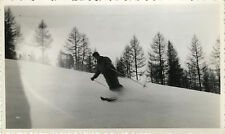 PHOTO ANCIENNE - VINTAGE SNAPSHOT - SKI SKIEUR HOMME VITESSE SCHUSS - SKIING MAN