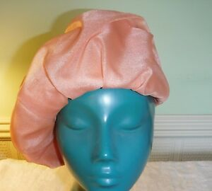 COOL VINTAGE SEMI STRUCTURED BERET HAT TANGERINE PEACH IT JUST FLOWS IN FOLDS