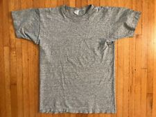 VINTAGE 80s GRAY CHAMPION BRAND T-SHIRT MEN SZ M BLANK PLAIN 1980s COTTON BLEND
