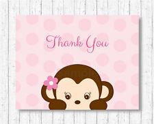 Girl Monkey Thank You Card Printable