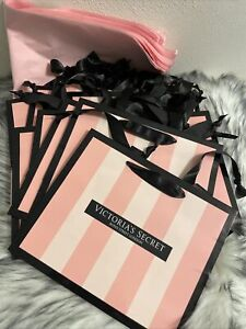 7 Victoria's Secret SMALL Classic Pink Stripe Shopping Paper Gift Bags tissue🌺