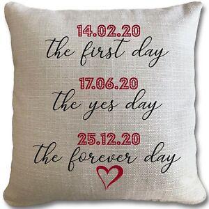 Personalised Wedding Gift Cushion Valentines Present Wife Husband Newlywed Date