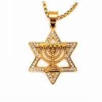 Israel Menorah Judaism Hebrew Necklace Star of David Menorah Gold color Religiou